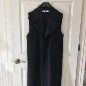Mango Black Sleeveless Midi Coat Size S